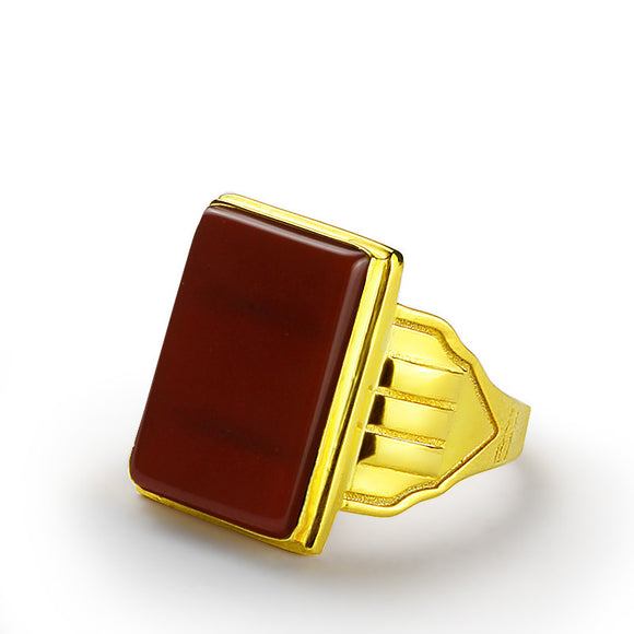 Men's Red Agate Ring in 14k Yellow Gold, Natural Stone Ring for Men - J  F  M