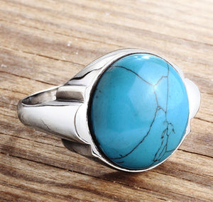 Blue Turquoise Men's Ring in 925 Sterling Silver, Natural Stone Men's Ring - J  F  M