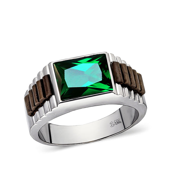 Real Fine 14k White Gold Classic Ring For Men With Rectangle Green Emerald Stone