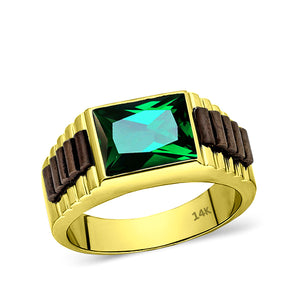 Green Emerald 14k Solid YELLOW GOLD Anniversary Wedding Engagement Band Ring