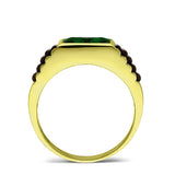 18K Hallmarked Solid Yellow Gold Mens Band Ring with Green Emerald Gemstone