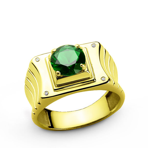 Men's Emerald Ring in 10k Yellow Gold with Genuine Diamonds - J  F  M