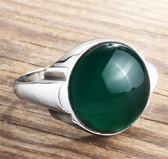 Men's Ring 925 Sterling Silver with Green Agate, Natural Stone Ring for Men - J  F  M