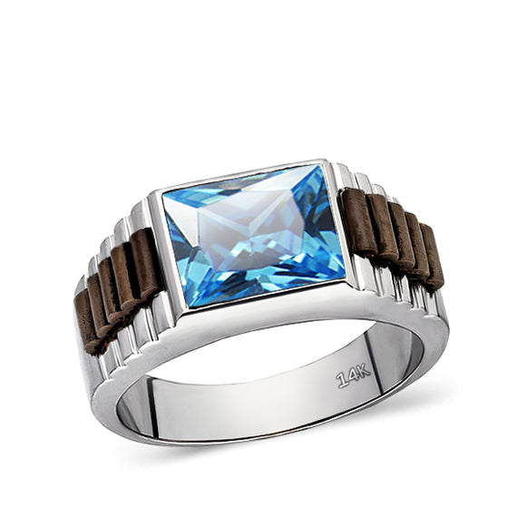 Blue Topaz Ring For Men Statement Solid Fine 14k White Gold Mens Heavy Wide Ring