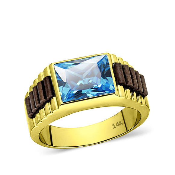 14k Yellow Gold Mens Ring Blue Rectangle Topaz Gemstone Band Ring for Men