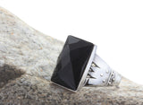Men's Ring 925 Sterling Silver with Black Onyx, Natural stone Ring for Men - J  F  M