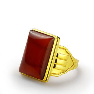 Men's Ring in 10k Yellow Gold with Natural Red Agate Stone - J  F  M