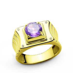 Men's Diamond Ring with Purple Amethyst Gemstone in 10k Yellow Gold - J  F  M