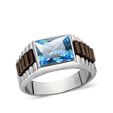 Mens Blue Topaz Gemstone Band Ring Solid Real 925 Sterling Silver Jewelry All Sz