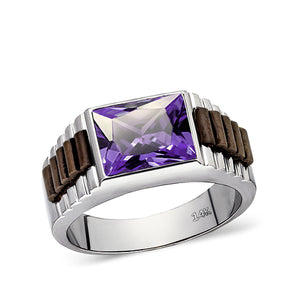 Real Fine 14k White Gold Heavy Ring For Men With Rectangle Purple Amethyst Stone
