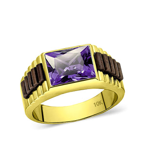 Solid 10k Yellow Gold Mens Ring Purple Amethyst Stone Modern Band Ring for Man