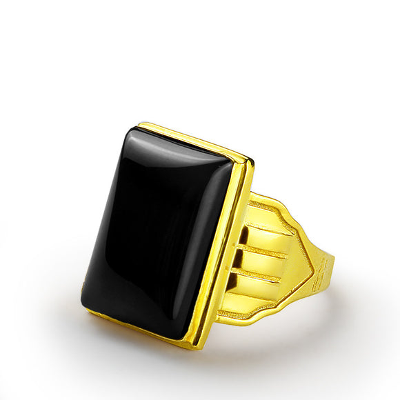 Men's Ring in 10k Yellow Gold with Natural Black Onyx, Statement Ring - J  F  M