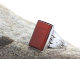Sterling Silver Men's Ring with Natural Red Agate Stone, Silver RIng for Men - J  F  M