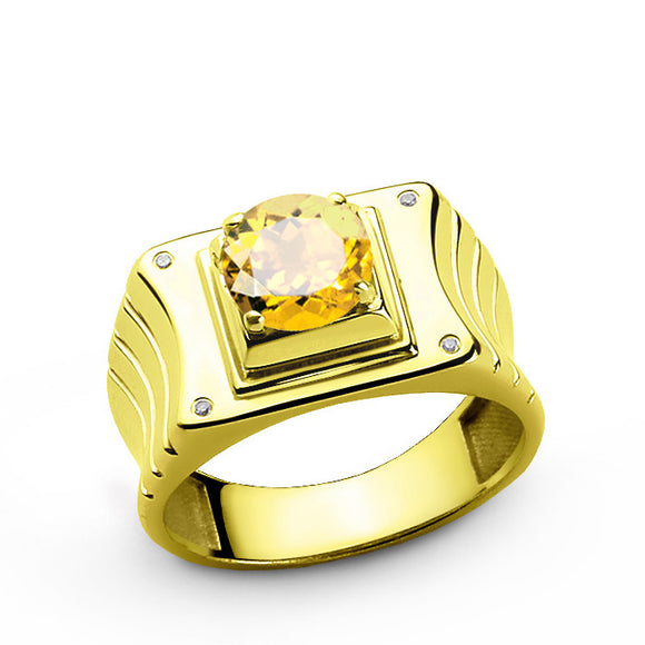 14k Yellow Gold Men's Ring with Citrine Gemstone and Natural Diamonds - J  F  M
