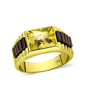18K Solid Yellow Gold Wedding Engagement Band Ring Yellow Citrine Stone Jewelry