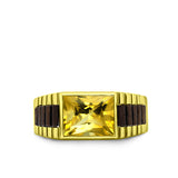 Solid 10k Yellow Gold Mens Ring Yellow Citrine Gemstone Modern Band Ring for Man