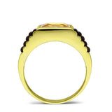NEW 18K Yellow Gold Plated on Mens Heavy 925 Silver Citrine Band Ring All sizes