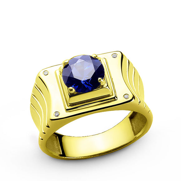 Diamond Men's Ring in 10k Yellow Gold with Blue Sapphire Gemstone - J  F  M