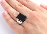 Men's Ring in 925 Sterling Silver with Black Onyx Gemstone - J  F  M