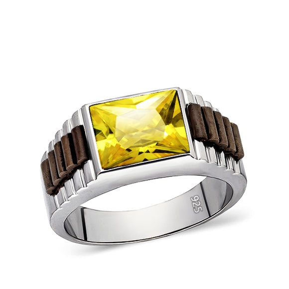 Real Solid 925 Sterling Silver Mens Yellow Citrine Gemstone Ring Jewelry All Sz