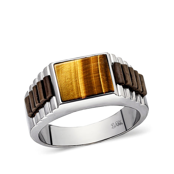 Tigers Eye Jewelry Man Statement Solid Fine 14k White Gold Men's Heavy Wide Ring