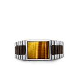 Solid 925 Sterling Silver Artdeco Mens Ring Real Tigers Eye Stone Jewelry All Sz