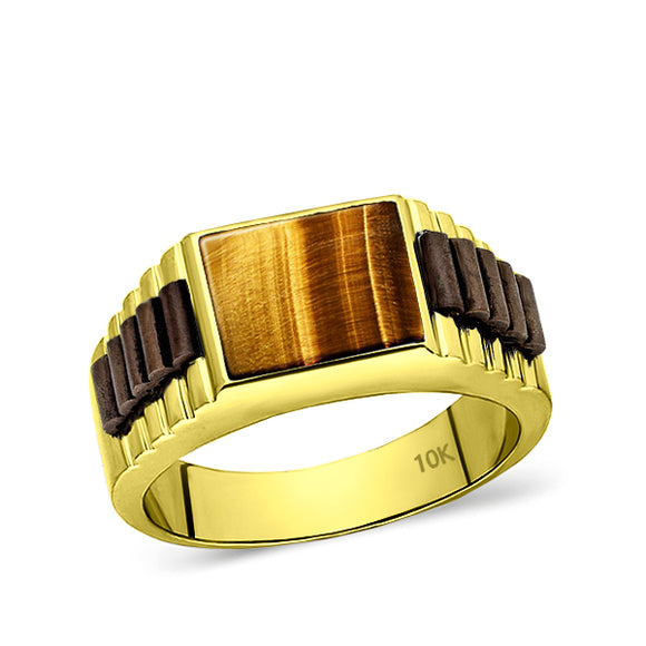 Real Solid 10k Yellow Gold Mens Ring Genuine Tiger's Eye Stone Band Ring for Man