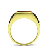 Tiger's Eye Jewelry Man Statement Solid Fine 14k Yellow Gold Men's Heavy Ring
