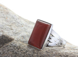 Natural Red Agate Gemstone Men's Ring in 925 Sterling Silver - J  F  M