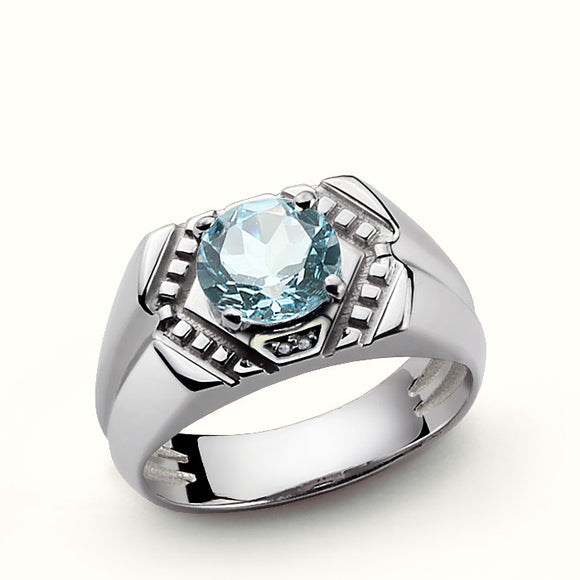 925 Sterling Silver Men's Vintage Ring with Blue Topaz and Natural Diamonds - J  F  M