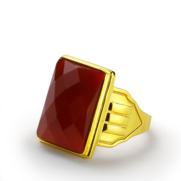 10k Yellow Gold Men's Statement Ring with Red Agate Natural Stone - J  F  M