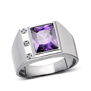 Real 925 Solid Sterling Silver Mens Purple Amethyst Ring with 3 Diamonds All Sz