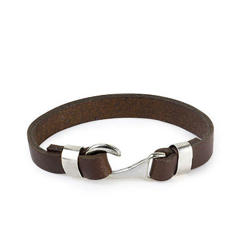 Men's Bracelet Genuine Leather with 925 Sterling Silver Hook Clasp - J  F  M