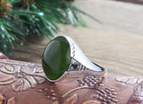 Men's Green Agate Ring Sterling Silver with Natural Gemstone - J  F  M