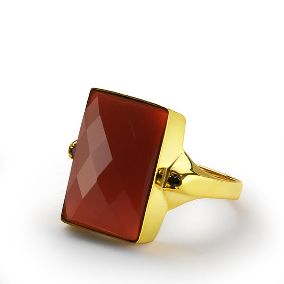 Men's Ring 14k Yellow Gold with Red Agate Stone and Onyx Accents - J  F  M