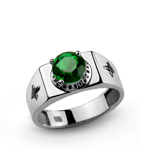 925 Sterling Silver Signet Men's Ring with Green Emerald Gemstone - J  F  M