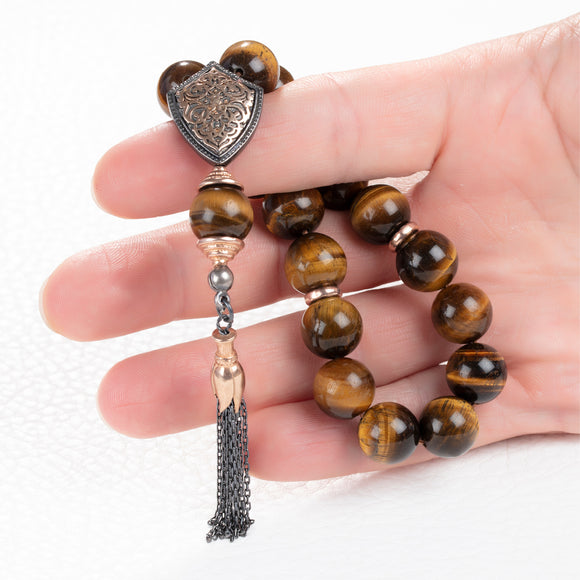 Muslim Rosary 14mm Round Tiger's Eye Beads Tasbih with 925 Silver Islamic Gift