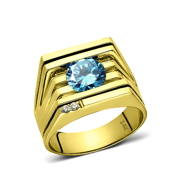 Mens Ring REAL Solid 14K YELLOW GOLD with Blue Topaz and GENUINE DIAMONDS all sz