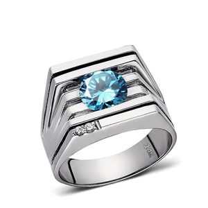 Solid 14K White GOLD Mens Ring REAL with Blue Topaz and GENUINE DIAMONDS all sz