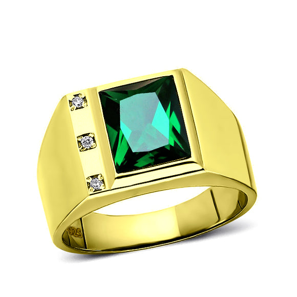 3 Diamond Accents 18K Gold Plated on 925 Solid Silver Mens Green Emerald Ring