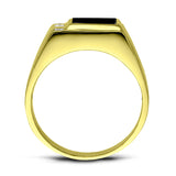 18K Gold Plated on 925 Solid Silver Mens Black Onyx Ring With 3 Diamond Accents