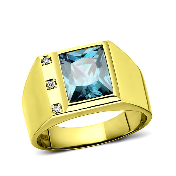 Diamond /& Blue Topaz Ring Sterling Silver or Yellow Gold Plated