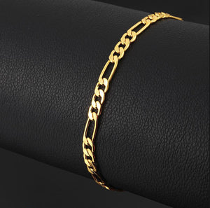 7mm Mens Gold Plated on Sterling Silver Heavy Figaro Chain Link Bracelet 8 inch