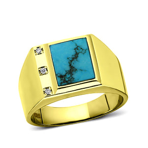 18K Gold Plated on 925 Solid Silver Mens Turquoise Ring With 3 Diamond Accents