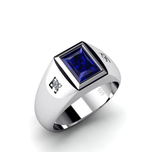 Blue Sapphire Men's Statement Ring with Genuine Diamonds in 925 Sterling Silver