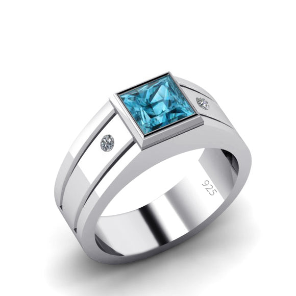 Solitaire Ring for Him with 1.80ct Blue Topaz Gemstone and 2 Diamonds Square Signet Ring