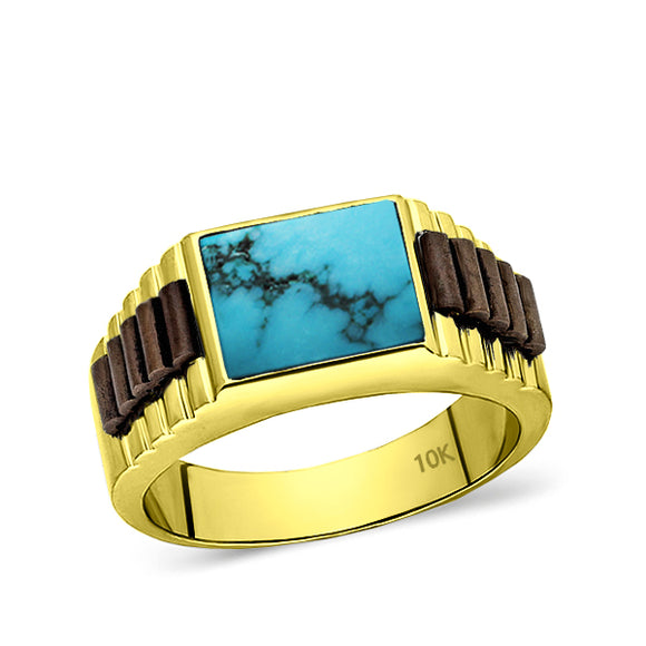 Solid 10k Yellow Gold Mens Ring Genuine Blue Turquoise Stone Band Ring for Man