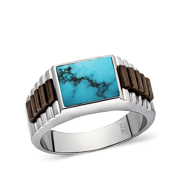 Solid 925 Sterling Silver Mens Ring Genuine Blue Turquoise Stone Ring for Man