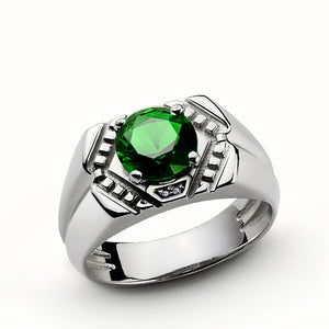 Men's Gemstone Ring in 925 Sterling Silver with Natural Diamonds and Green Emerald - J  F  M