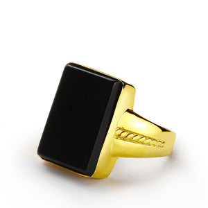 Men's Ring 10k Gold and Black Onyx Natural Stone, Statement Ring for Men - J  F  M